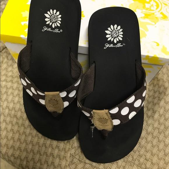59 Off Yellow Box Shoes - Brown Polka Dot Yellow Box Flip Flops From Whiseys Closet On Poshmark-7886