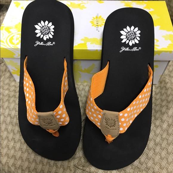 59 Off Yellow Box Shoes - Orange White Polka Dot Yellow Box From Whiseys Closet On Poshmark-2456