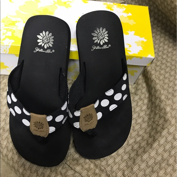 59 Off Yellow Box Shoes - Black And White Polka Dot Yellow Box From Whiseys Closet On Poshmark-6236