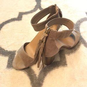 Breckelles Shoes - Taupe fringe sandals block heel size 8