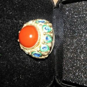 TURQUOISE  RED CORAL  CHINESE RING