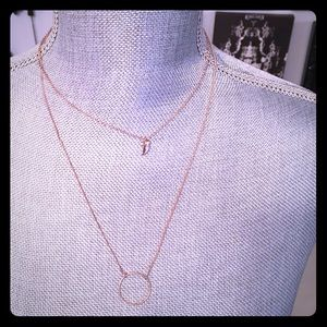 Rose Gold double strand necklace with horn