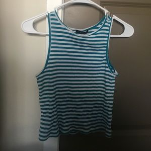 Teal and white striped tank top