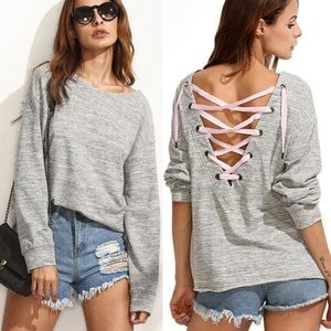 Laced Back Pullover Top