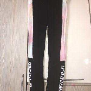Pink vs pastel watercolor leggings pants yoga gym