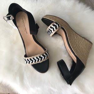 Christian Siriano Shoes - •nwt• black and white hemp wedges