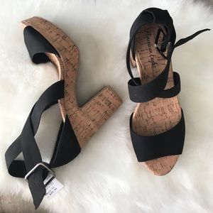 American Eagle By Payless Shoes - •new• platform cork strappy heels