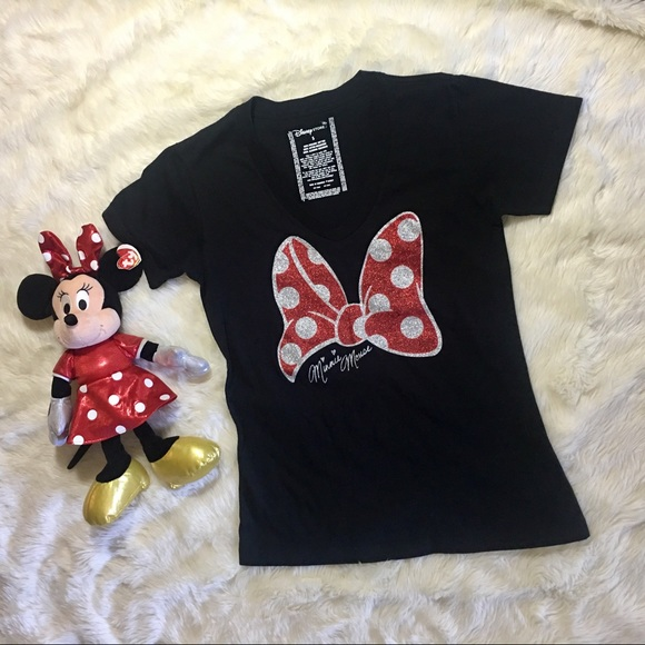 dace89be54db56 Disney Store Tops - V-Neck Glitter Bow Minnie Mouse Tee for Women