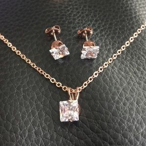 2 pc Rose Gold Princess Cut CZ Necklace Earrings