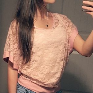 Tops - Pink Floral Lace Sheer Batwing Top Cover-up