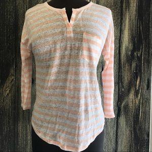 C&C California Tops - C&C California Tangerine & white striped top Sz S