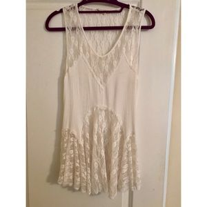 American Threads Tops - Cute white lacy tank top