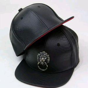 ea9e6462a Accessories | Faux Leather Lion Head Snapback Unisex Cap | Poshmark