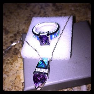 Jewelry - Sterling Silver Amethyst/Fired Opal Ring/Necklace