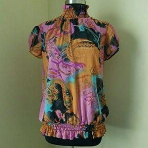 Goddess Tops - Goddess, XL, Mock Neck Cap Sleeve Blouse