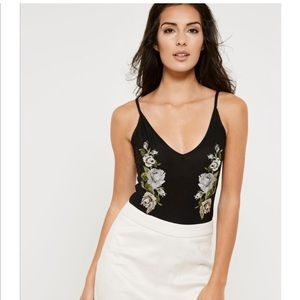 Tops - 🎉HOST PICK🎉 Black Embroidered Flower Bodysuit
