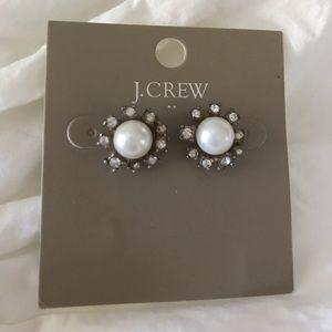 J. Crew Jewelry - J.Crew costume pearl stud earrings with diamonds
