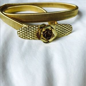 LF Stores Accessories - Gold LF Slinky Belt with Rose Buckle Clasp