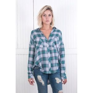 The Laundry Room Tops - The Laundry Room Thoreau Slit Back Plaid Top