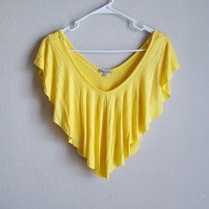 Tops - Yellow Ruffled Crop Top NWOT