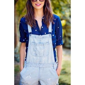 Denim - | distressed railroad stripe denim shortalls |