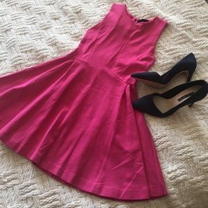 Zara Dresses & Skirts - Zara Basic Hot Pink Fit and Flare Dress