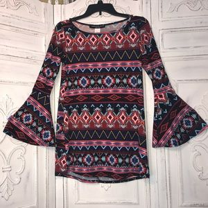 Absolute Angel Dresses & Skirts - Hippie tribal red blue pattern dress bell sleeves