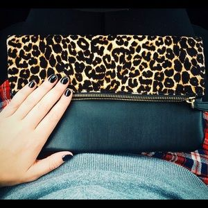 Old Navy Handbags - Leopard Print Foldover Clutch