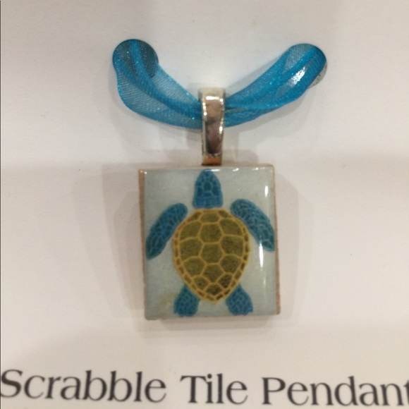 Luanne kane jewelry handmade turtle necklace on scrabble tile handmade turtle necklace on scrabble tile aloadofball Image collections