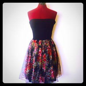 Vintage French 80s Mini Dress Strapless S M