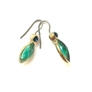 Jewelry - Teal crystal gold Sterling silver earrings