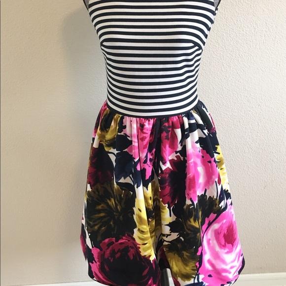 Just Taylor Just Taylor Stripe Floral Fit Amp Flare Dress