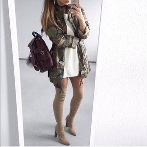 Shoes - Nude Over the Knee Boots