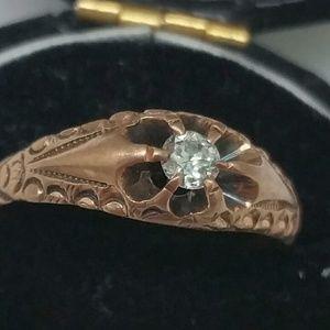 Jewelry - Antique .15ct diamond Belcher 12k gold Ring