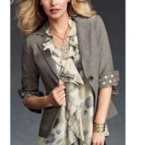 CAbi Jackets & Blazers - CAbi Tweed Barrister Ruched Detail Blazer 923