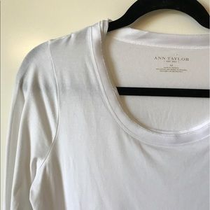 Ann Taylor tee with ribbon trimmed neckline