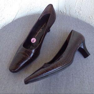 Salvatore Ferragamo Shoes - Salvatore Ferragamo Brown Snake Print Pump Heels 9