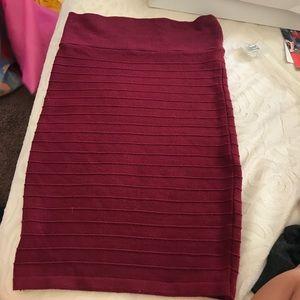 Burgundy long pencil skirt