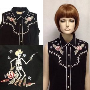 Scully Tops - Western Drinking Shirt Roses Skeleton Black