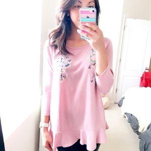 LC Lauren Conrad Sweaters - Lauren Conrad mauve pink 3/4 sweater