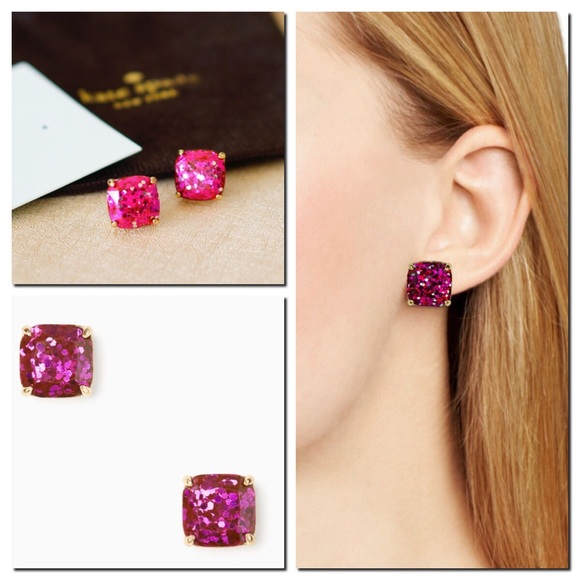 ecdca3d03bcc4 Kate Spade Glitter Stud Square Earrings in Fuschia NWT