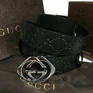 Gucci Other - New Black Gucci diamond signature supreme Belt