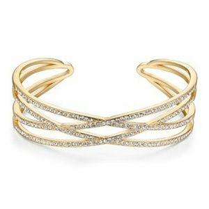 Gold Swarovski Crystal Bracelet/Cuff