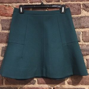 J.Crew Green Fluted Mini in Double Crepe, like new