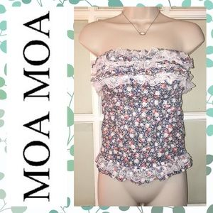 Moa Moa Tops - 🌺 floral strapless ruffle top🌺
