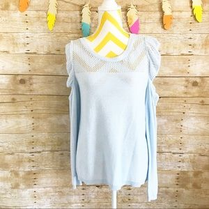 LC Lauren Conrad Sweaters - Lauren Conrad light blue ruffle sleeve sweater