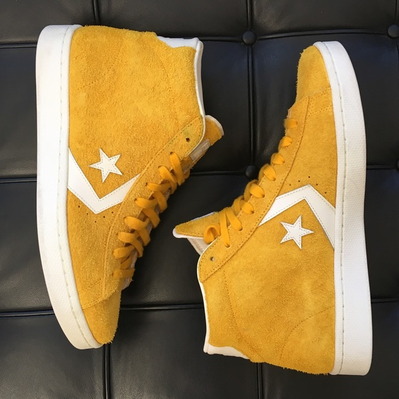 126bda9c5713 Converse Shoes - Converse Pro Leather Hi top in yellow hairy suede