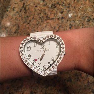 Betsey Johnson White Heart Shaped Rhinestone Watch