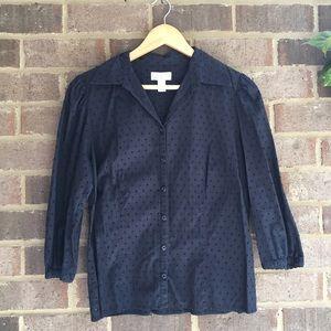 LOFT Tops - Loft Black Textured Fitted Blouse