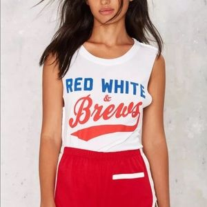 Social Decay Tops - || NWT || Social Decay Red White & Brews Tank